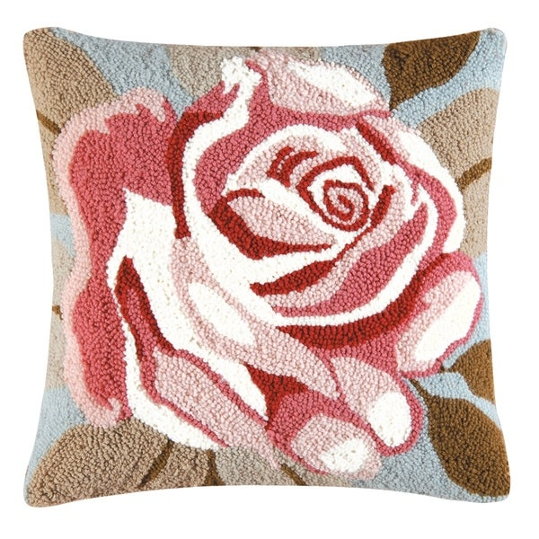 Rose Hooked 18 Inch Throw Pillow
