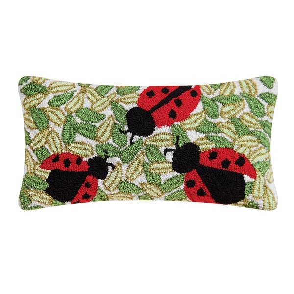 Lady Bugs Hooked 12x24 Throw Pillow