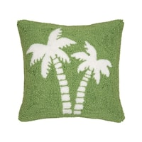 Beachy Palm Trees Hooked 15x15 Throw Pillow