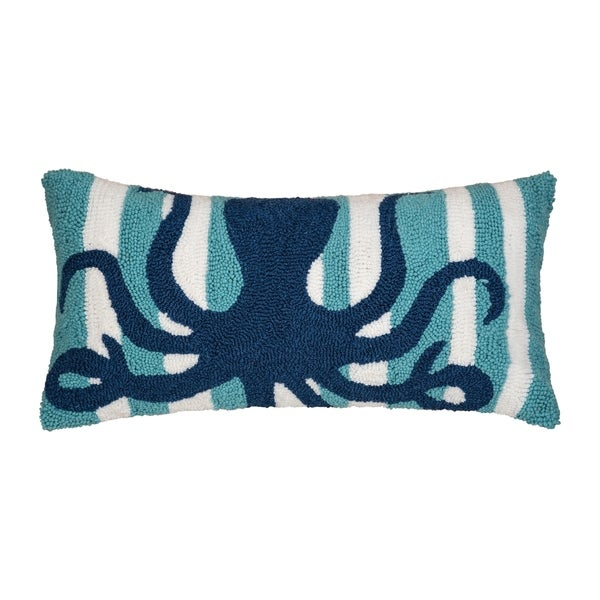 Striped Octopus Hooked 12x24 Throw Pillow