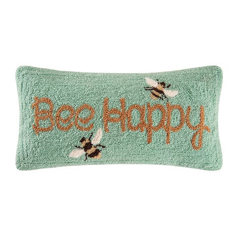 Bee Happy Hooked 10x20 Throw Pillow - n/a