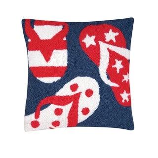 Patriotic Flip Flops Hooked 16 Inch Throw Pillow