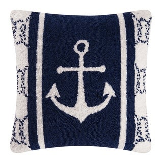 Anchor Hooked 18 Inch Throw Pillow