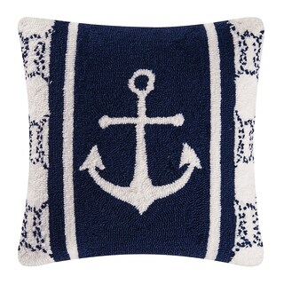 Anchor Blue Nautical Hooked Pillow 18x18