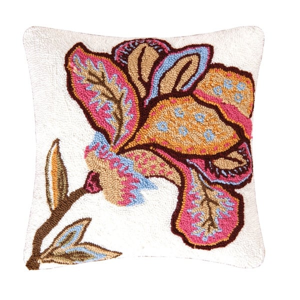 Bethany Flower Hooked 18 Inch Throw Pillow