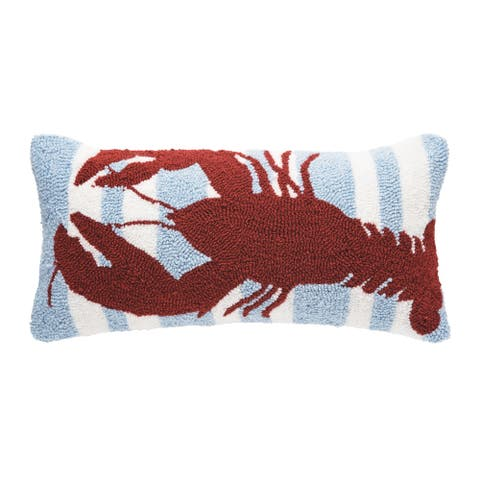 Striped Lobster Hooked 12x24 Throw Decorative Accent Throw Pillow