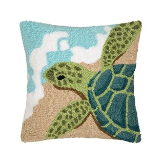 Turtle Waves Hooked Pillow