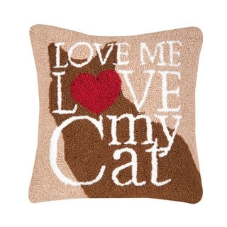 Cat Love Hooked 18 Inch Throw Pillow