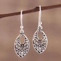 Handmade Sterling Silver 'Bygone Flowers' Earrings (India)