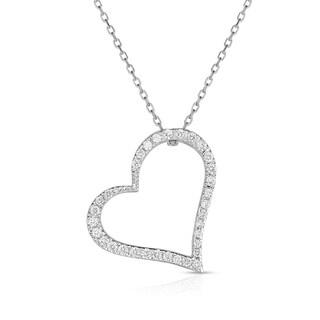 "Noray Designs 14k White Gold Diamond (1/4 ct, G-H Color, SI2-I1 Clarity) Heart Pendant, 18"" Gold Chain"