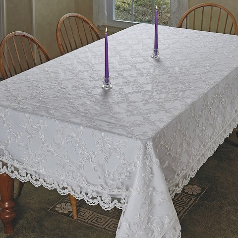 Violet Linen Royal Lace Embroidered Tablecloth - White or Cream in several sizes