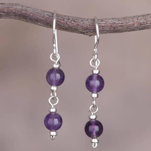 b3fea306f Shop Handmade Sterling Silver 'Andean Emotion' Amethyst Earrings ...