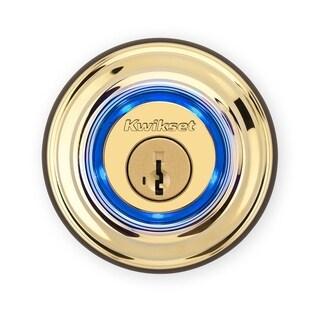 Kwikset Electronic Bluetooth Single Cylinder Deadbolt Polished Brass Metal 2 Grade Right Handed