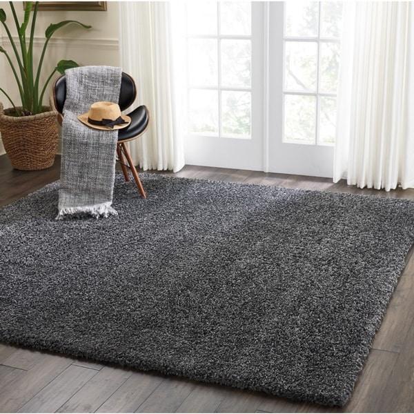 Nourison Malibu Dark Grey Solid Shag Square Rug - 7'10 X Square