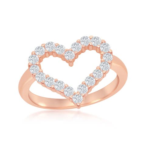 Sterling Silver Rose Gold Plated High Polish Open Heart Cubic Zirconia Ring - Coral