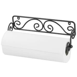 Home Basics Black Wall-mounted Paper Towel Holder