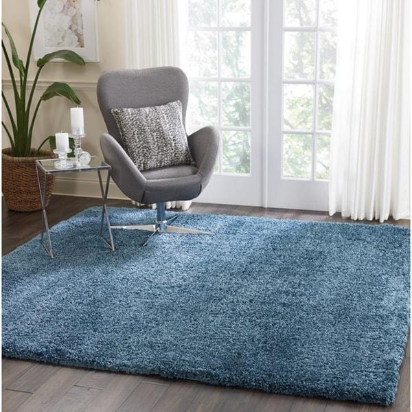 "Nourison Malibu Blue Solid Shag Square Rug (7'10 X Square) - 7'10"" x squ"