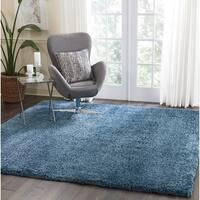 Nourison Malibu Blue Solid Shag Square Rug (7'10 X Square)