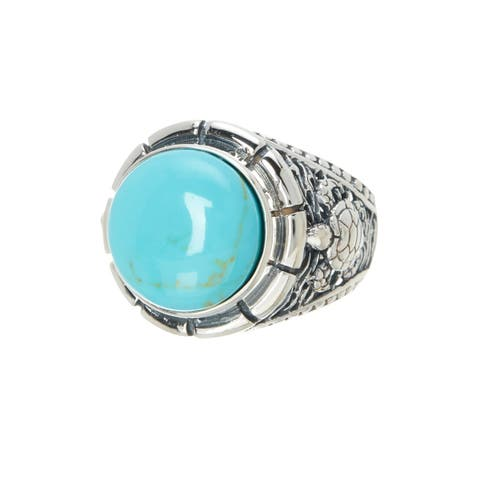 Pori Jewelers Turquoise Vintage Bali Style Ring in Sterling Silver