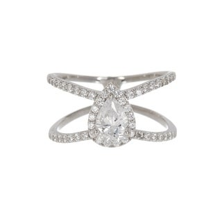 Pori Jewelers Pear-cut Centered Stone X Ring with Cubic Zirconia in Sterling Silver