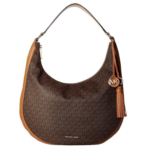 Shop Michael Kors Lydia Signature Large Brown Hobo Bag