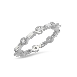 Pori Jewelers Baguette-cut Eternity Stackable Ring with Cubic Zirconia in Sterling Silver