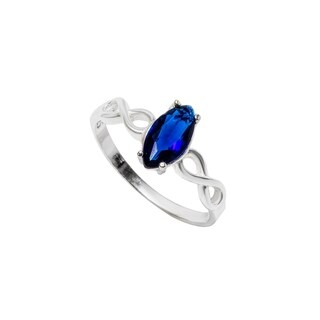 Pori Jewelers Marquise-cut Centered Stone CZ wInfinity Sides Ring in Sterling Silver