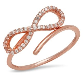 Pori Jewelers Infinity Adjustable Ring with Pave Cubic Zirconia in Stering Silver