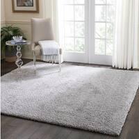 Nourison Malibu Silver Grey Solid Shag Square Rug - 6'7 x Square