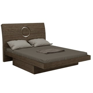 Contemporary Grey Tone Wood Platform Bed