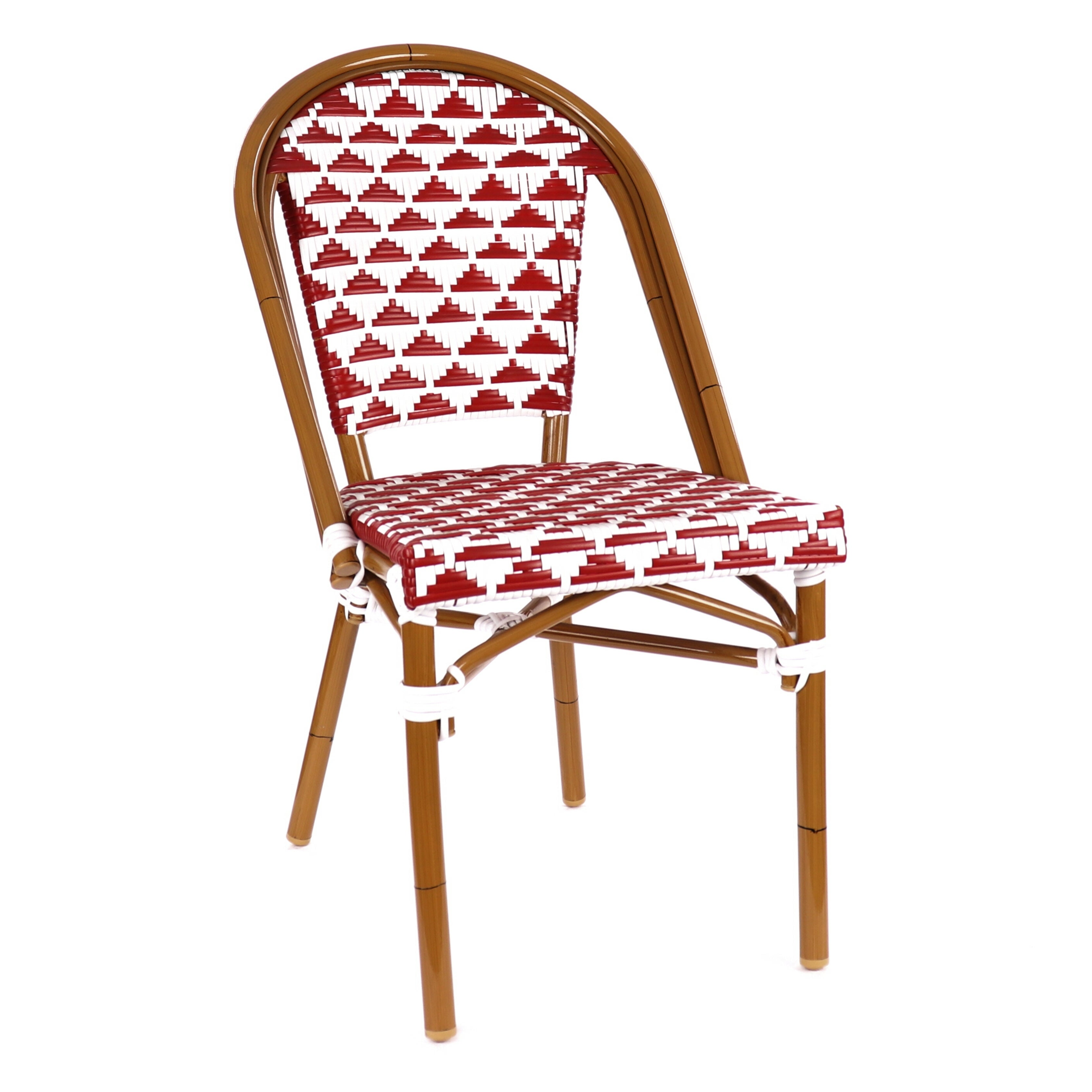 Details About Versailles Aluminum Wood Look Alike Stackable Bistro Chair  Tan, Red, White