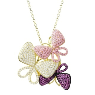 Luxiro Sterling Silver Gold Finish Lab-created Ruby with CZ Butterfly Pendant Necklace - Pink