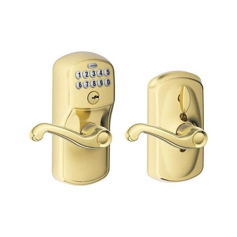 Schlage Plymouth Electronic Keypad Entry Lock Bright Brass Steel 2 Grade Left Handed, Right Handed
