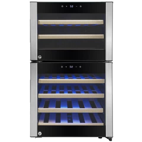 AKDY WC0041 45 Bottle Dual Zone Freestanding Compressor Electric Wine Cooler Refrigerator