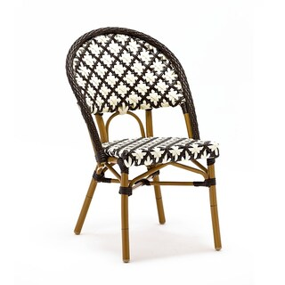 Les Ulis Aluminum Wood Look-alike Stackable Bistro Chair