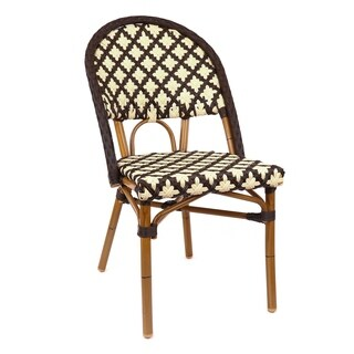 Les Ulis Aluminum Wood Look-alike Stackable Bistro Chair