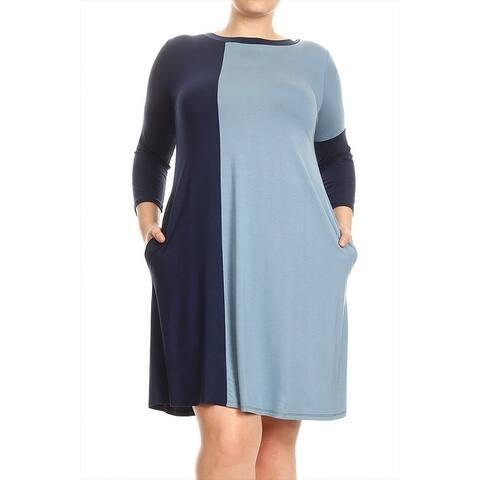 Women's Plus Size Solid Color Block Dress