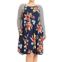 Women's Plus Size Floral Pattern Dress with Striped Sleeves