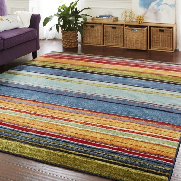 Shop Mohawk Home New Wave Rainbow Area Rug In Blue Grey