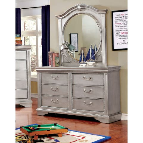 Furniture of America Balm Silver 2-piece Dresser and Mirror Set