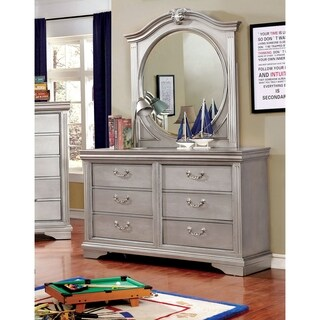 Furniture of America Brummel Traditional 2-piece Silver Dresser and Mirror Set