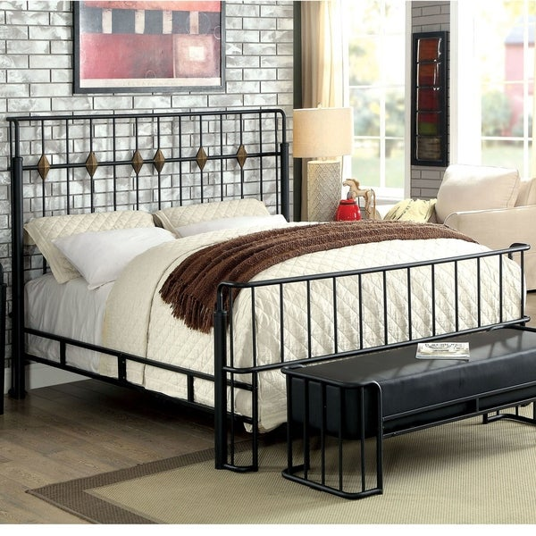 Furniture of America Ryan Modern Black Metal Youth Panel Bed