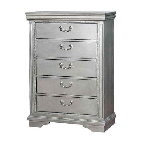 Brummel Traditional Silver 5-drawer Chest by FOA