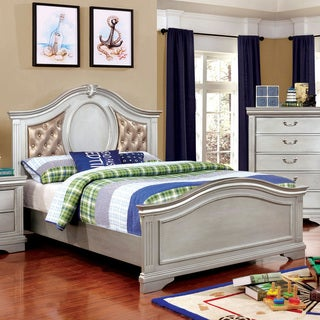 Furniture of America Balm Traditional Silver Solid Wood Tufted Bed