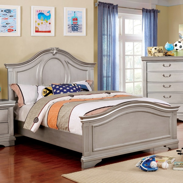 Furniture of America Balm Traditional Silver Solid Wood Panel Bed