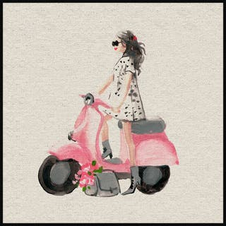 Marmont Hill - Handmade Pink Scooter II Floater Framed Print on Canvas
