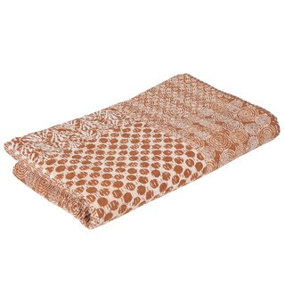 Handmade Vintage Kantha Indian Handmade Brown/White Throw Bedspread (India)