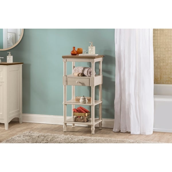 Hillsdale Seneca Tall Basket Stand with Middle Drawer - Baskets Not Included