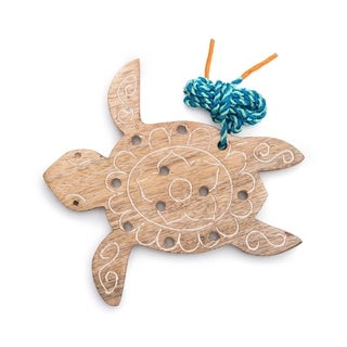 Handmade Wood Turtle Lacing Toy (India)