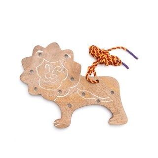 Handcrafted Wood Lion Lacing Toy (India)